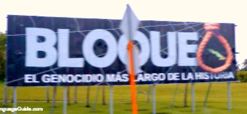 Cuban billboard blasts the U.S. economic embargo